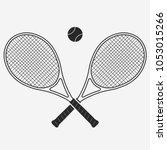 tennis racket and ball  gear... | Shutterstock .eps vector #1053015266