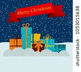 gift boxes on snow and falling... | Shutterstock . vector #1053015638