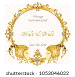 wedding invitation card for... | Shutterstock .eps vector #1053046022