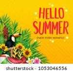 hello summer enjoy every moment ... | Shutterstock .eps vector #1053046556