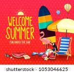 welcome summer fun under the... | Shutterstock .eps vector #1053046625
