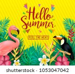 hello summer  feel the heat... | Shutterstock .eps vector #1053047042