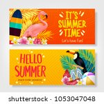 hello summer and it's summer... | Shutterstock .eps vector #1053047048