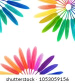 colored feathers on a white... | Shutterstock . vector #1053059156