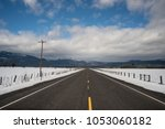 snow has been cleared from the... | Shutterstock . vector #1053060182
