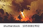 Stock photo fantasy scene showing the young boy running away from the fire dragon digital art style 1053081902