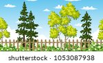 seamless summer landscape with... | Shutterstock .eps vector #1053087938