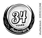 34 years anniversary.... | Shutterstock .eps vector #1053111248