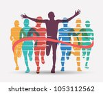 running athletes symbol  sport... | Shutterstock .eps vector #1053112562