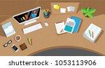 messy cluttered office desk | Shutterstock .eps vector #1053113906