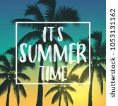 summer poster with palm and... | Shutterstock .eps vector #1053131162