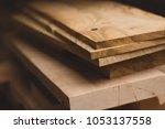 wood working industry stack of... | Shutterstock . vector #1053137558