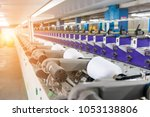 machines for weaving yarns used ... | Shutterstock . vector #1053138806
