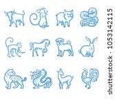 chinese new year zodiac... | Shutterstock .eps vector #1053142115