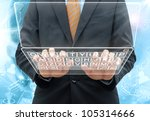 businessman typing the keyboard on glass computer - stock photo