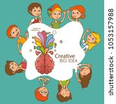 kids with creative big idea | Shutterstock .eps vector #1053157988
