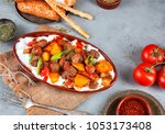 pide with meatball | Shutterstock . vector #1053173408