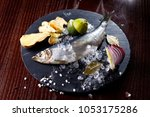 herring entirely with ginger... | Shutterstock . vector #1053175286
