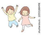 vector illustration of two kids ... | Shutterstock .eps vector #1053188498