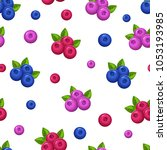 seamless pattern with berries...   Shutterstock .eps vector #1053193985