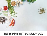 top view of condiments and... | Shutterstock . vector #1053204902
