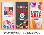 summer sale and summer greeting ... | Shutterstock .eps vector #1053218972