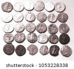 roman denarius on white... | Shutterstock . vector #1053228338