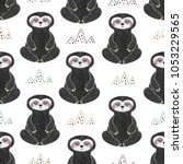 meditating sloth seamless...   Shutterstock .eps vector #1053229565