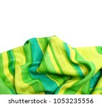 green fashion fabric on a white ... | Shutterstock . vector #1053235556