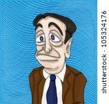 Sad man in suit - illustration - stock vector