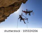 climbing team struggle to the... | Shutterstock . vector #105324206