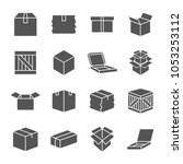 simple set of box and crates... | Shutterstock .eps vector #1053253112