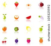 16 fruit icons  colorful | Shutterstock .eps vector #105325592