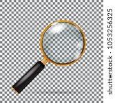 realistic  golden magnifying... | Shutterstock . vector #1053256325