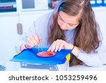 the girl with the pcb   Shutterstock . vector #1053259496