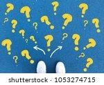 top view selfie feet a pair of... | Shutterstock . vector #1053274715