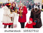 People celebrating  Shrovetide  at Russia - stock photo