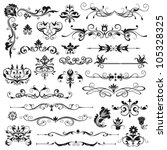 Stock vector set of vector floral elements for design 105328325