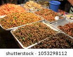 fried insects  locust  worm ... | Shutterstock . vector #1053298112