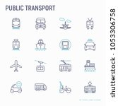 public transport thin line... | Shutterstock .eps vector #1053306758