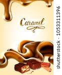 liquid chocolate  caramel or... | Shutterstock .eps vector #1053311396