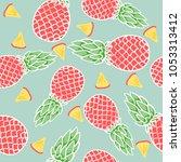 red pineapple pattern on light... | Shutterstock .eps vector #1053313412