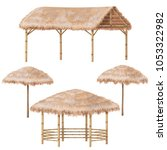 set of tropical beach shelter... | Shutterstock .eps vector #1053322982