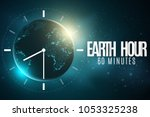 earth hour. futuristic planet... | Shutterstock .eps vector #1053325238