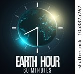 earth hour. futuristic planet...   Shutterstock .eps vector #1053325262