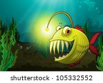 illustration of a monster fish in water