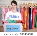 volunteer with clothes donation ... | Shutterstock . vector #105334802