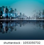 night city skyline with neon... | Shutterstock . vector #1053350732