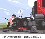truck driver is repairing car.... | Shutterstock .eps vector #1053355178