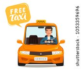 free taxi  concept. happy... | Shutterstock .eps vector #1053359696
